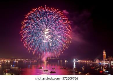 Beautiful fireworks on Venice Lagoon, Grand Canal, Venice, Italy