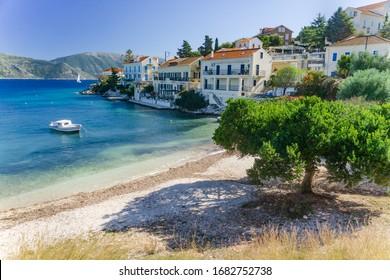 Beautiful Fiscardo bay in Ionian Island Kefalonia, Greece in autumn