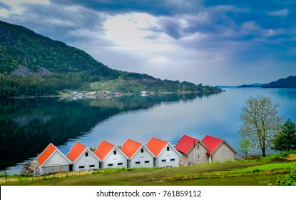 Beautiful fishing houses in Norway seen during the road trip from Bergen to Stavanger