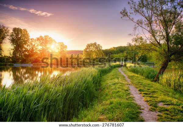 Beautiful fishing lake in sunrise / This image was created with a HDR (high dynamic range) technology