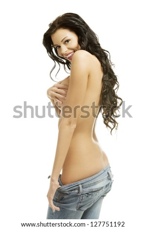 For Sexy topless women in blue jeans has surprised
