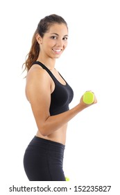Beautiful fitness woman doing weights with dumbbells isolated on a white background