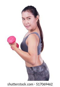 Beautiful fitness woman with lifting dumbbells . Sporty girl showing