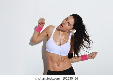 beautiful fitness woman posing, studio shot