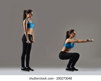 beautiful fitness woman working out, studio shot