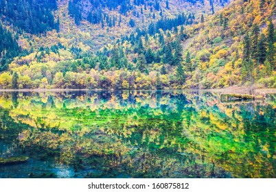 beautiful five flower lake at jiuzhaigou valley scenic and historic interest area, Sichuan, China.