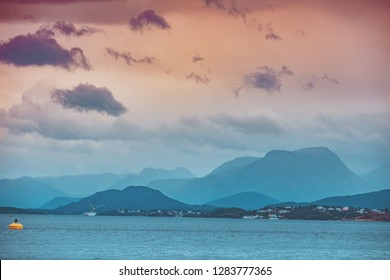 Beautiful fjord. Bay in evening light.  Aalesund, Norway