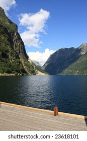beautiful Fjord in Norway, on the deck