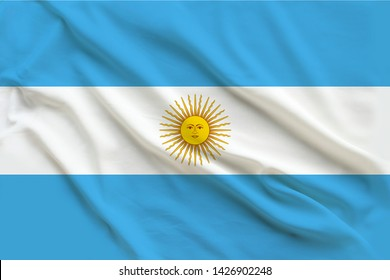 beautiful flag of argentina on delicate silk with soft folds in the wind