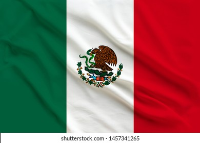 beautiful flag of mexico on delicate silk with soft folds in the wind