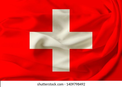 beautiful flag of Switzerland on pleated fabric