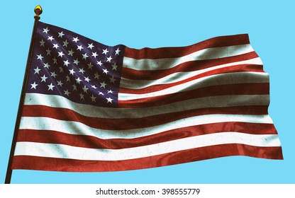 Beautiful flag of the USA waving in the wind. 3D rendering