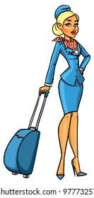 Beautiful flight attendant with luggage
