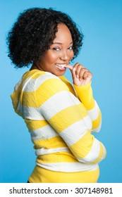 Beautiful flirtatious young black woman