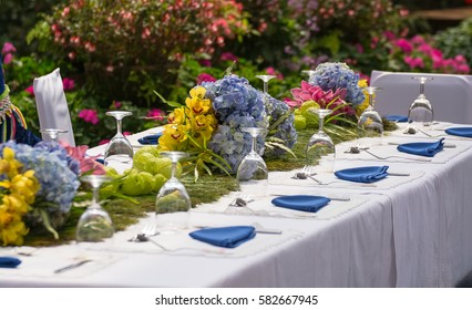 Beautiful floral arrangement on table at some public agriculture station.