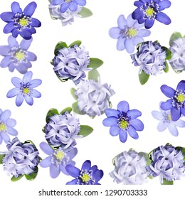 Beautiful floral background of liverwort and hyacinth