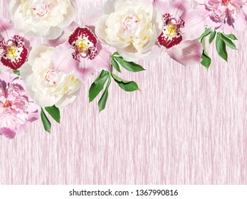 Beautiful floral background of peonies and orchids. Isolated