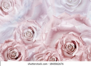 Beautiful floral background of  pinkroses. Greeting card.