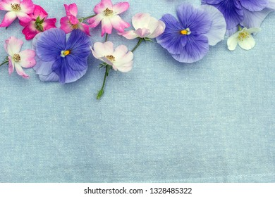 Beautiful, floral background with roses and pansies
