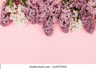 Beautiful floral border with lilacs. With copy-space