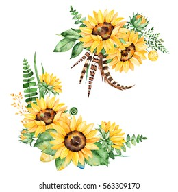 Beautiful Floral Collection With Sunflowersleavesbranchesfern Leavesfeathers2