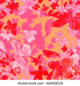 Beautiful floral seamless pattern. Colorful summer wild flowers on a pink background - K