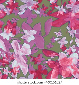 Beautiful floral seamless pattern. Colorful summer wild flowers on a brawn background