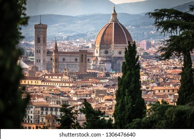 Beautiful Florence sunset city skyline with Florence Duomo Panorama of Florence, Italy