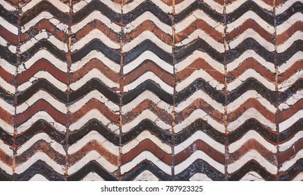 Beautiful Florentine old ceramic floor. Tuscany Italy