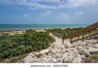 Beautiful Florida beach. Pathway leading to the beach. Bahia Honda State Park, Florida Keys, Bahia Honda Key, FLorida USA.