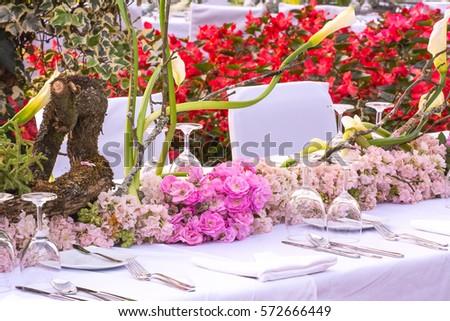 Beautiful Flower Arrangement On Dinner Table Stock Photo Edit Now