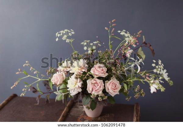 Beautiful Flower Arrangement Rustic Vase Stock Photo Edit Now 1062091478