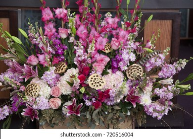 Beautiful flower arrangement with several shades of pink flowers
