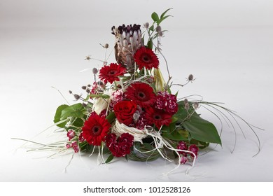 Beautiful flower arrangements for winter, spring, summer and autumn  on white background