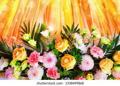 beautiful flower background. wedding decor. flower arrangement of roses