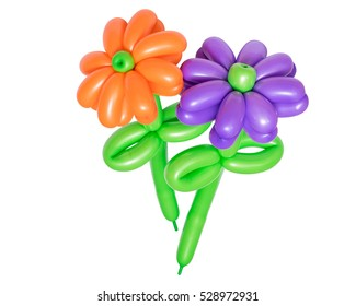 Beautiful flower from balloons isolated on white background. The festive character.