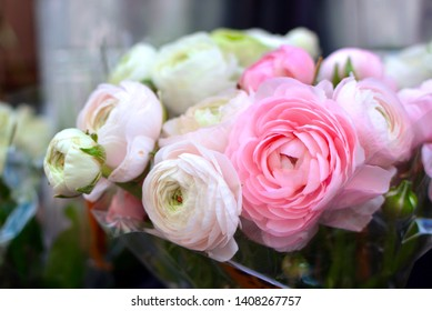 Beautiful flower bouquet with cream white and light pink Buttercup Ranunculus flowers in full bloom