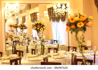 Beautiful flower decoration on table