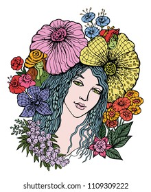 Beautiful Flower Fairy, For printed t shirt, graphic tee, wallpaper and other design.