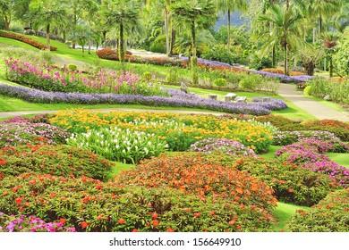 Beautiful flower garden on a hillside.
