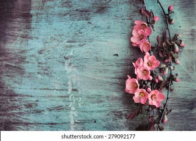 Schöne Blume auf einem Holztisch aus Grunge