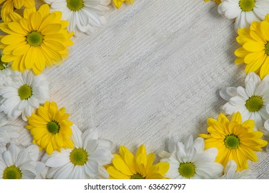 Beautiful flower on grunge wooden table.copy space.