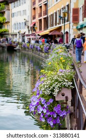 Beautiful flower pots along the canals in Annecy, France, known as the French Venice