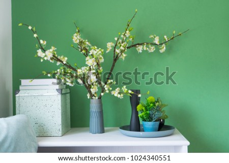 Beautiful Flower Vase On Green Wall Stock Photo Edit Now