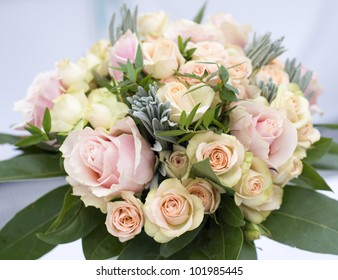 beautiful flower wedding bouquet with pink roses