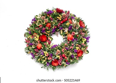 a beautiful flower wreath isolated on a white background