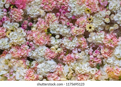 Beautiful flowers background for wedding scene and decoration