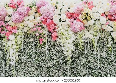 Beautiful flowers background for wedding scene,