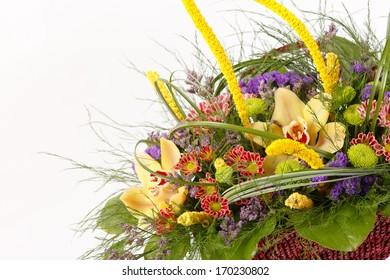 beautiful flowers in the basket