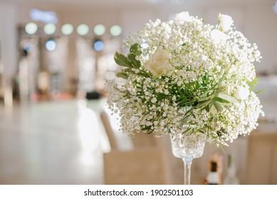 Beautiful flowers decoration in wedding hall